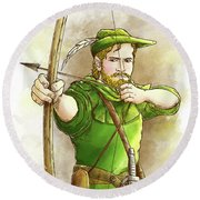 Robin Hood The Legend Round Beach Towel by Reynold Jay