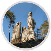 Round Beach Towel featuring the photograph Rock Formations In The Bohemian Paradise Geopark by Michal Boubin