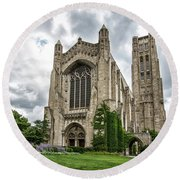 Rockefeller Chapel Chicago Round Beach Towel by Mike Burgquist