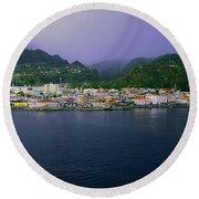 Roseau Dominica Round Beach Towel