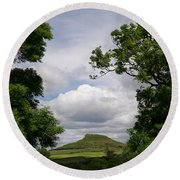 Roseberry Topping Round Beach Towel by Gary Eason