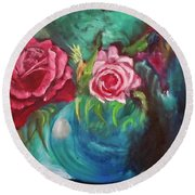 Roses One Of A Kind Handmade Round Beach Towel
