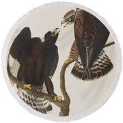 Rough-legged Falcon Round Beach Towel by John James Audubon