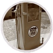 Route 66 Gas Pump Round Beach Towel by Frank Romeo