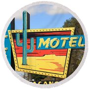 Route 66 - Western Motel Round Beach Towel by Frank Romeo