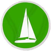 Sailboat In Green And White Round Beach Towel