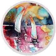 Round Beach Towel featuring the painting Sailboats by Kovacs Anna Brigitta