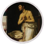 Round Beach Towel featuring the painting Saint Dominic In Penitence by Filippo Tarchiani