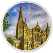 Salisbury Cathedral, Uk Round Beach Towel by Chris Smith