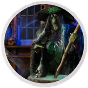 Scary Old Witch With A Cauldron Round Beach Towel