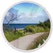 Round Beach Towel featuring the photograph Seaview by Robin-Lee Vieira