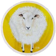 Sheep Painting On Yellow Background Round Beach Towel