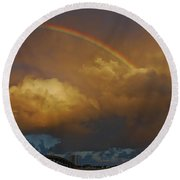 Round Beach Towel featuring the photograph 2- Singer Island Stormbow by Rainbows