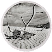 Skull And Antlers Round Beach Towel