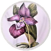 Round Beach Towel featuring the painting Slipper Foot Orchid by Mindy Newman