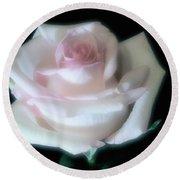 Soft Pink Rose Bud Round Beach Towel by Jeannie Rhode