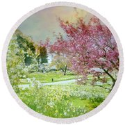 Round Beach Towel featuring the photograph Solitude by Diana Angstadt