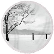 Round Beach Towel featuring the photograph Solitude by Wayne King