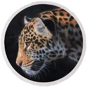 Round Beach Towel featuring the painting South American Jaguar by David Stribbling