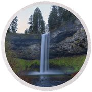 South Falls At Silver Falls State Park Round Beach Towel