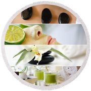 Spa Collage Round Beach Towel by Serena King