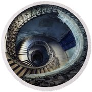 Round Beach Towel featuring the photograph Spiral Staircase With Ornamented Handrail by Jaroslaw Blaminsky