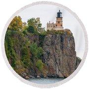 Split Rock Lighthouse Round Beach Towel by Steve Stuller