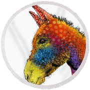 Spotted Donkey Round Beach Towel