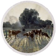Round Beach Towel featuring the painting Spring Frost by Elioth Gruner