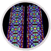 Stained Glass Window Round Beach Towel by Patricia Hofmeester
