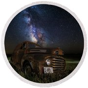 Stardust And Rust Round Beach Towel