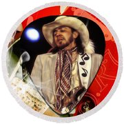 Stevie Ray Vaughan Art Round Beach Towel