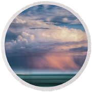 Storm On The Sound Round Beach Towel