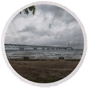 Round Beach Towel featuring the photograph Straits Of Mackinac by John M Bailey