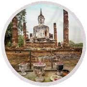 Round Beach Towel featuring the photograph Sukhothai Buddha by Adrian Evans