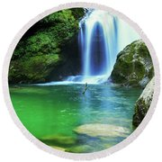 Sum Waterfall In Vintgar Gorge, Near Bled, Slovenia. Round Beach Towel