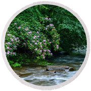 Summer Along Birch River Round Beach Towel