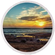 Sun Going Down Round Beach Towel by Doug Long
