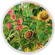 Sunflowers Round Beach Towel by Alexandra Maria Ethlyn Cheshire