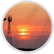 Sunrise And Windmill 01 Round Beach Towel