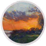 Sunset At Gratwick Waterfront Park Round Beach Towel