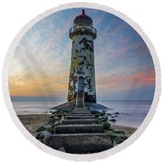Sunset At The Lighthouse Round Beach Towel by Ian Mitchell