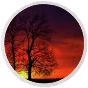 Round Beach Towel featuring the photograph Sunset by Bess Hamiti