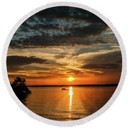 Sunset Round Beach Towel by Doug Long