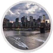 Sunset Over New York City Round Beach Towel