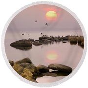 Round Beach Towel featuring the photograph Sunset by Vladimir Kholostykh