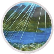 Round Beach Towel featuring the mixed media Sunshine Over Boise by Angela Stout