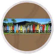 Surfboard Fence Maui Hawaii Round Beach Towel by Peter Dang