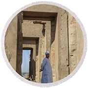 Round Beach Towel featuring the photograph Temple Of Kom Ombo by Silvia Bruno