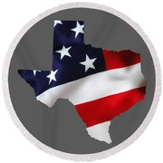 Texas State Map Collection Round Beach Towel by Marvin Blaine